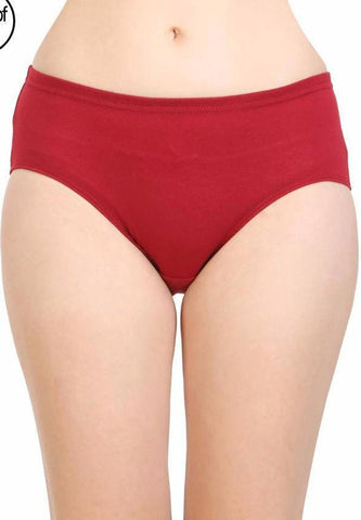 Red Color Cotton Women's Plain Panty - DVS-PT202
