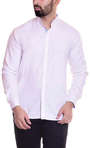White Color Cotton  Men's Solid Shirt - DVS-ST201