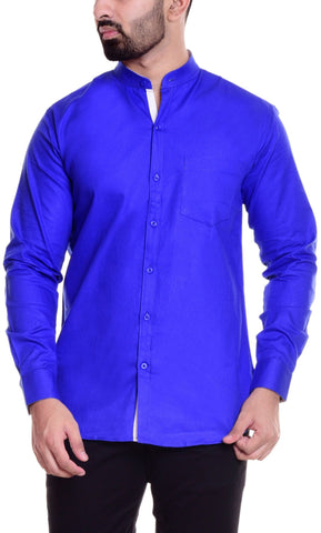 Blue Color Cotton  Men's Solid Shirt - DVS-ST203