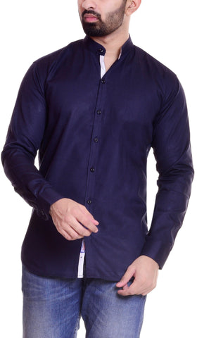 Dark Blue Color Cotton  Men's Solid Shirt - DVS-ST204