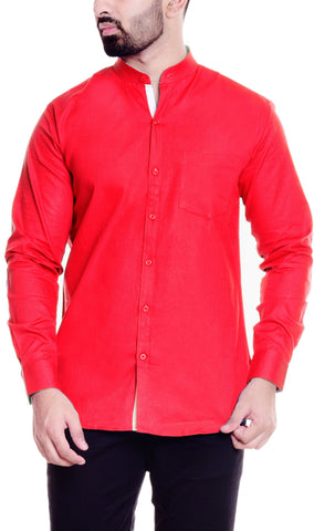 Red Color Cotton  Men's Solid Shirt - DVS-ST205