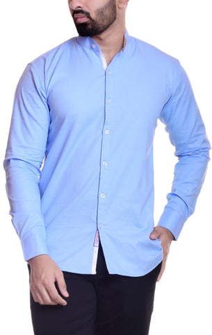 Sky Blue Color Cotton  Men's Solid Shirt - DVS-ST207