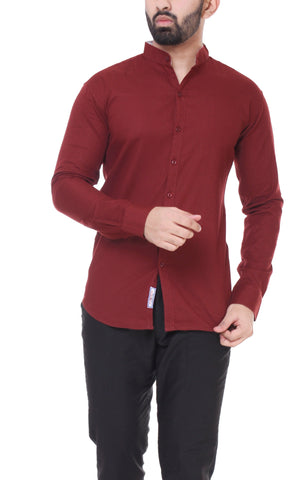 Maroon Color Cotton  Men's Solid Shirt - DVS-ST209