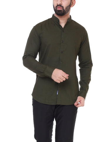 Dark Green Color Cotton  Men's Solid Shirt - DVS-ST210