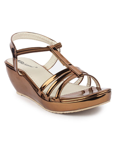 DIGNI Copper Color Synthetic Women Wedges - DWF-419-COPPER