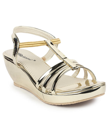 DIGNI Golden Color Synthetic Women Wedges - DWF-419-GOLDEN