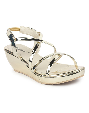 DIGNI Golden Color Synthetic Women Wedges - DWF-420-GOLDEN
