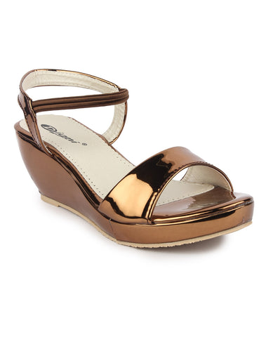 DIGNI Copper Color Synthetic Women Wedges - DWF-421-COPPER