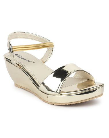 DIGNI Golden Color Synthetic Women Wedges - DWF-421-GOLDEN