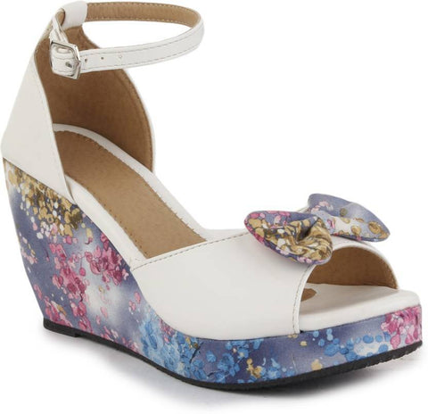 DIGNI White Color Synthetic Women Wedges - DWF-502-WHITE