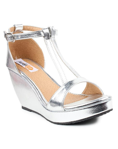 DIGNI Silver Color Synthetic Women Wedges - DWF-506-SILVER