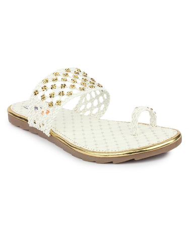 DIGNI White Color Synthetic Women Flats - DWF-A-1-WHITE