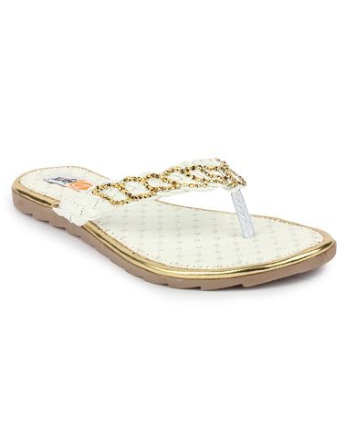 DIGNI White Color Synthetic Women Flats - DWF-A-3-WHITE