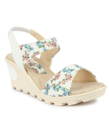 DIGNI White Color Synthetic Women Wedges - DWF-B-20-WHITE