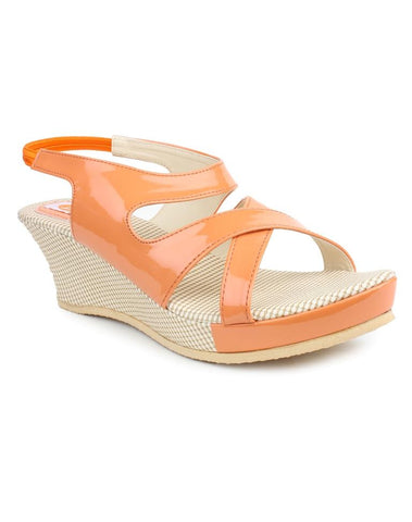 DIGNI Orange Color Synthetic Women Wedges - DWF-B-3-ORANGE