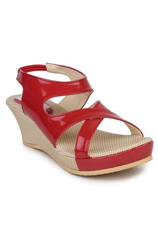 DIGNI Peach Color Synthetic Women Wedges - DWF-B-3-PEACH