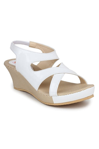 DIGNI White Color Synthetic Women Wedges - DWF-B-3-WHITE