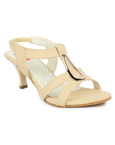DIGNI Cream  Color Synthetic Women Heels - DWF-B-40-CREAM