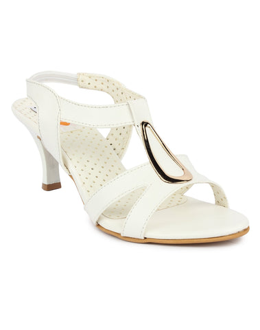 DIGNI White Color Synthetic Women Heels - DWF-B-40-WHITE