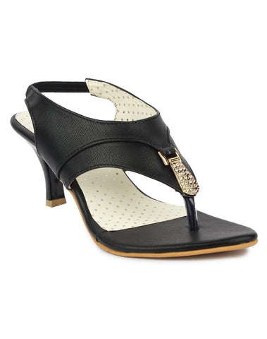 DIGNI Black  Color Synthetic Women Heels - DWF-B-41-BLACK