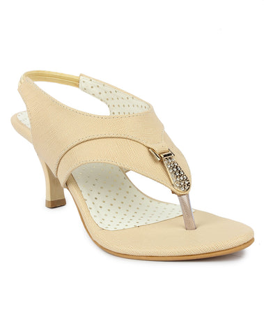 DIGNI Cream  Color Synthetic Women Heels - DWF-B-41-CREAM
