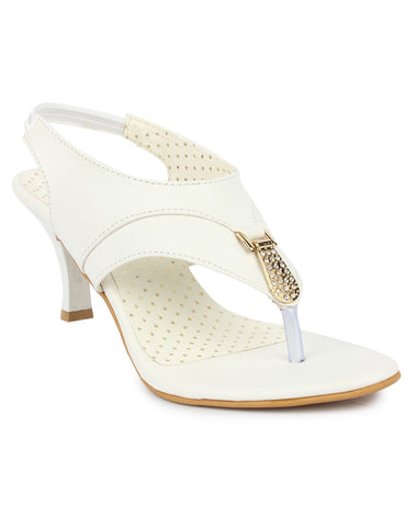 DIGNI White Color Synthetic Women Heels - DWF-B-41-WHITE