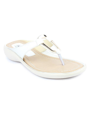 DIGNI White Color Synthetic Women Flats - DWF-B-8-WHITE