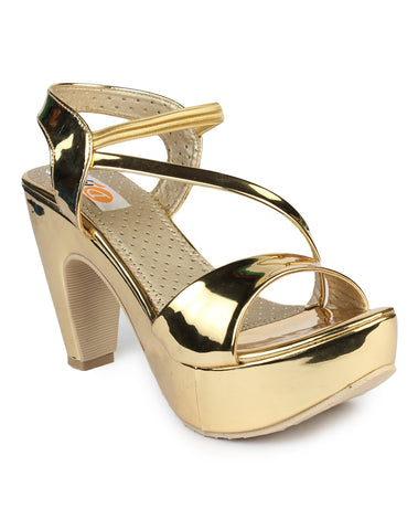 DIGNI Golden Color Synthetic Women Heels - DWF-C-1-GOLDEN