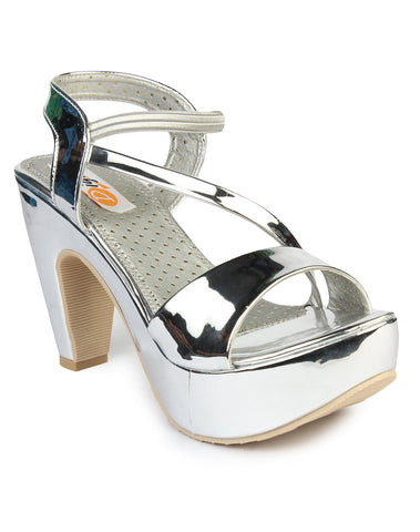 DIGNI Silver Color Synthetic Women Heels - DWF-C-1-SILVER