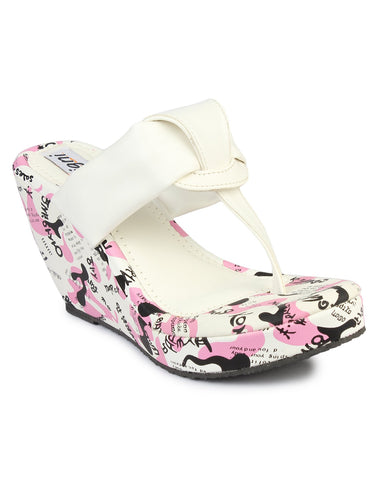 DIGNI White Color Synthetic Women Wedges - DWF-FU-1-WHITE