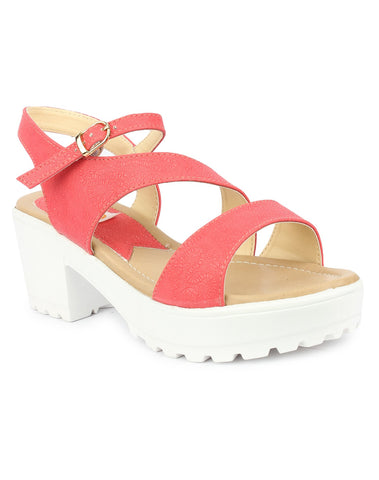 DIGNI Peach Color Synthetic Women Heels - DWF-GA-05-PEACH