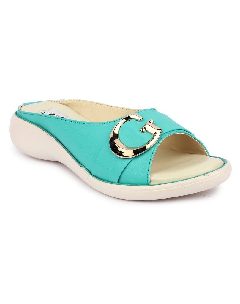 Buy DIGNI Green Color Synthetic Women Flats