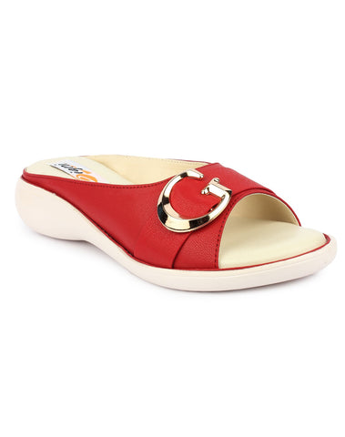 DIGNI Red Color Synthetic Women Flats - DWF-GB-RED