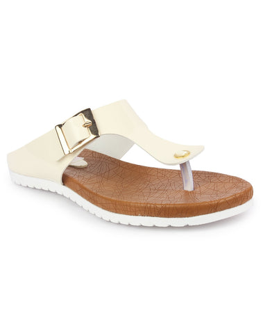 DIGNI Cream Color Synthetic Women Flats - DWF-R-50-CREAM