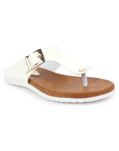 DIGNI White Color Synthetic Women Flats - DWF-R-50-WHITE