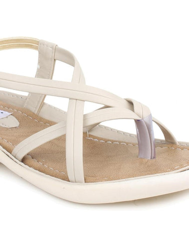 DIGNI Cream Color Synthetic Women Flats - DWF-Z-3-CREAM