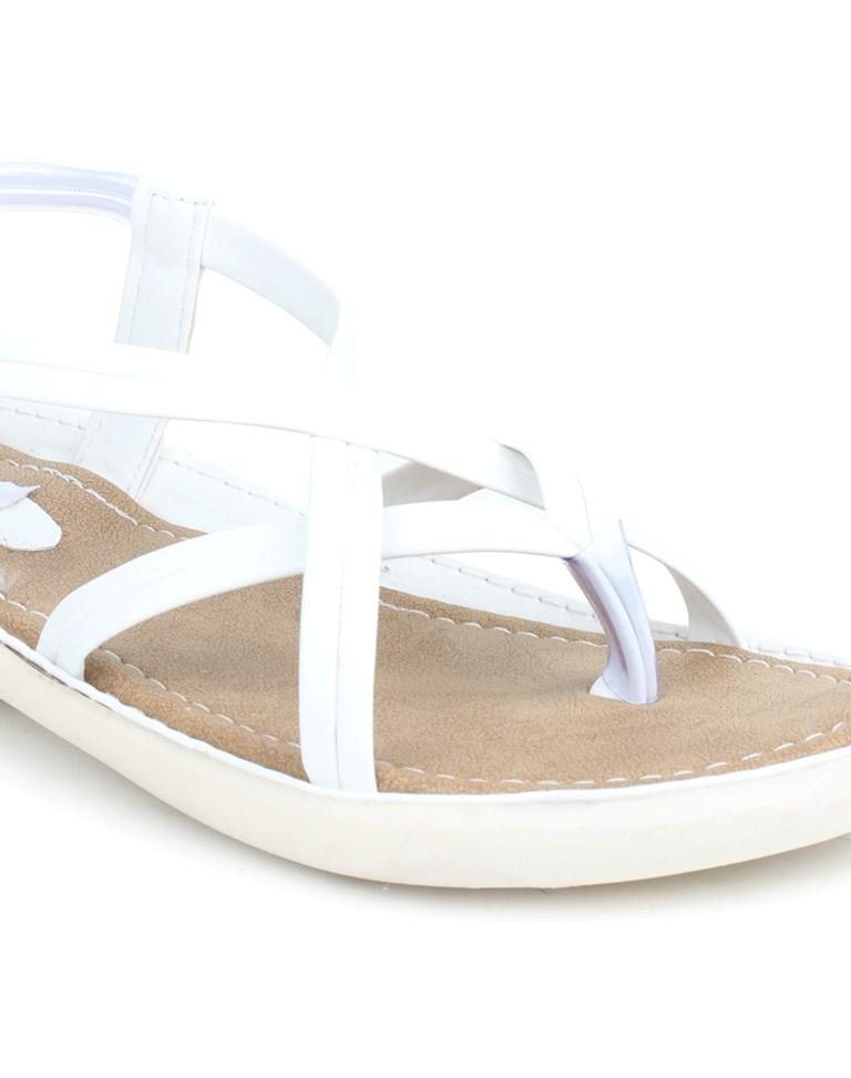 Buy DIGNI White Color Synthetic Women Flats