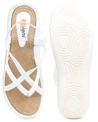 DIGNI White Color Synthetic Women Flats - DWF-Z-3-WHITE