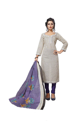 Beige Color Cotton  Stitched Salwar  - Dangal-4001
