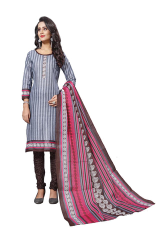Grey Color Cotton  Stitched Salwar  - Dangal-4002