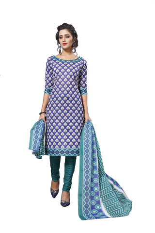 Blue Color Cotton  Stitched Salwar  - Dangal-4007
