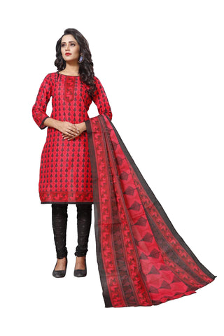 Red Color Cotton  Stitched Salwar  - Dangal-4010