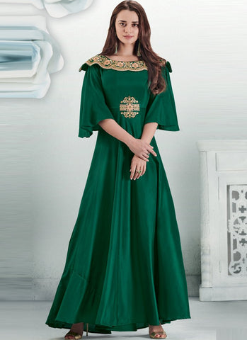 Dark Green Color Maslin Silk Stitched Gown - Delight-15001