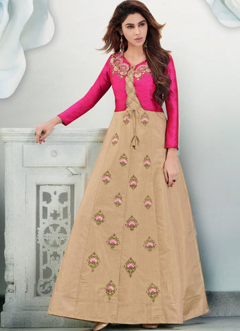 Beige Color Banarasi And Tapeta Silk Stitched Gown - Delight-15002