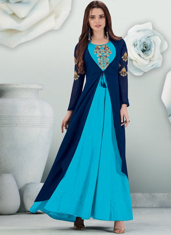 Sky Blue Color Banarasi And Semi Georgette Stitched Gown - Delight-15003