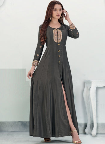 Grey Color Maslin Silk Stitched Gown - Delight-15005