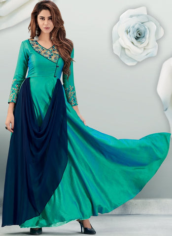 Sea Green Color Banarasi And Semi Georgette Stitched Gown - Delight-15007