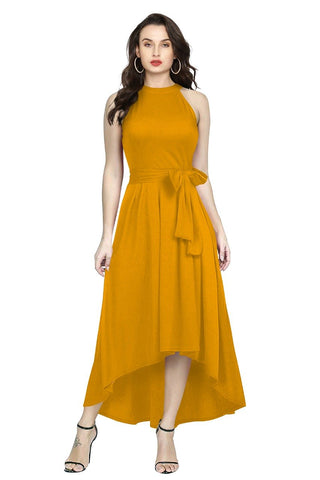 Yellow Color Rayon Women's Gown - Deltin_S-28_Yellow