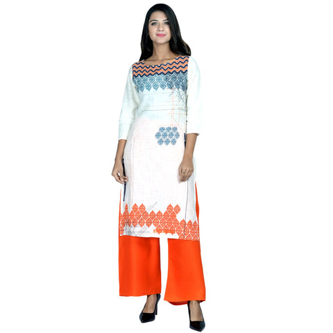 Orange Color Cotton printed Kurti - Design-22-Orange