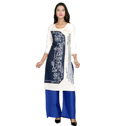Blue Color Cotton printed Kurti - Design-23-Blue